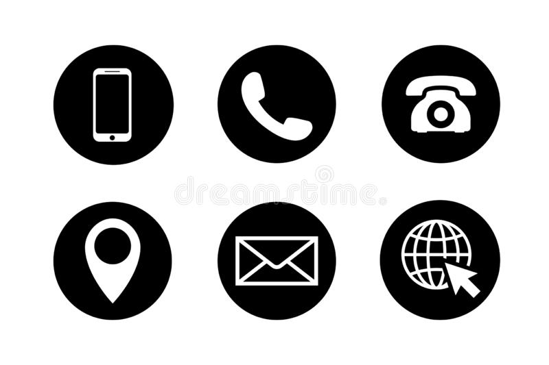 Contact icon set. Phone, location, mail, web site. Contact icon set in circles. Phone, mobile phone, retro phone, location, mail and web site symbols in black vector illustration