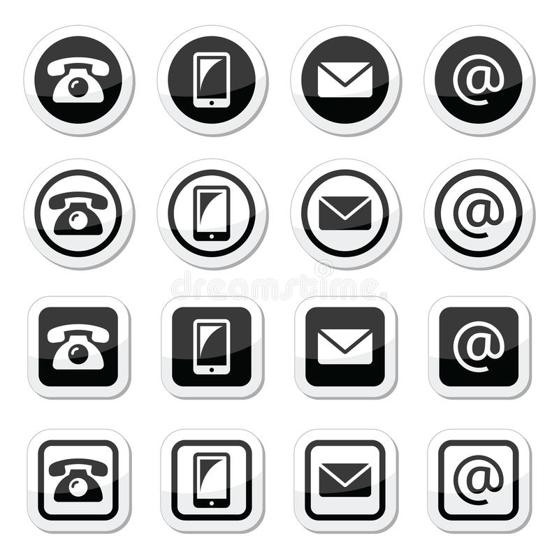Contact icons in circle and square set - mobile, phone, email, envelope royalty free illustration