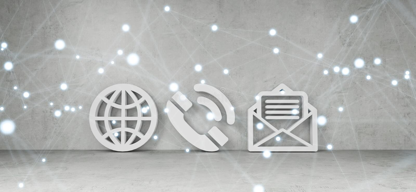 Contact icons in modern interior 3D rendering vector illustration