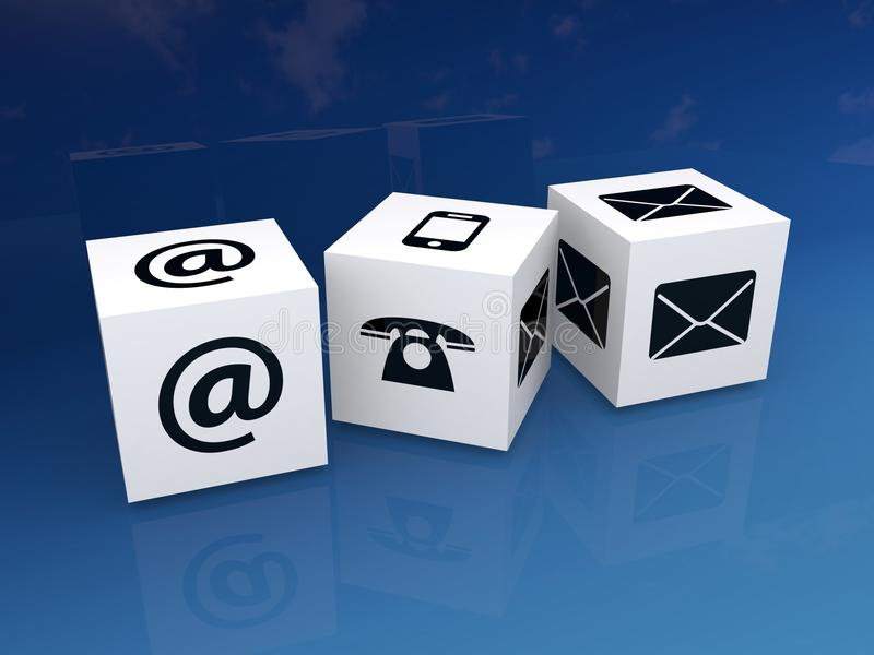Contact icons on cubes stock illustration