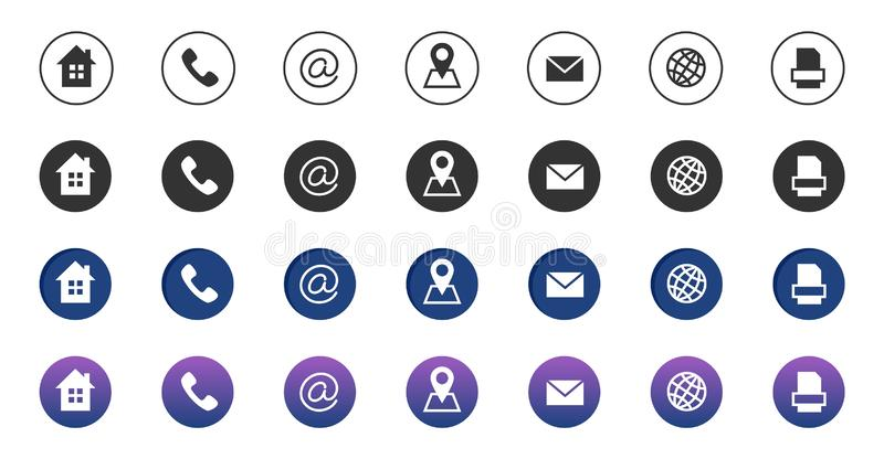 Contact icons. Information business communication symbols collection. Call internet location, address, mail and fax stock illustration