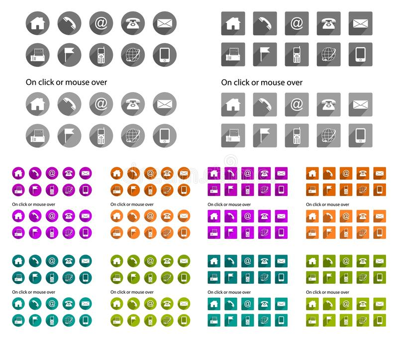Contact icons - long shadow stock illustration