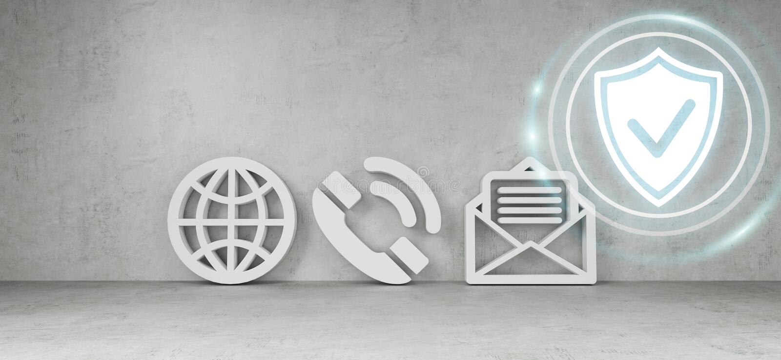 Contact icons hacking concept 3D rendering vector illustration
