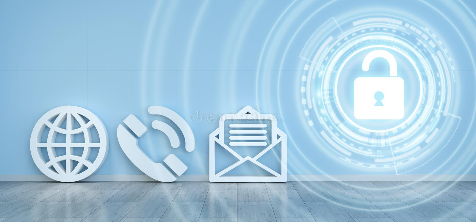 Contact icons hacking concept 3D rendering stock illustration