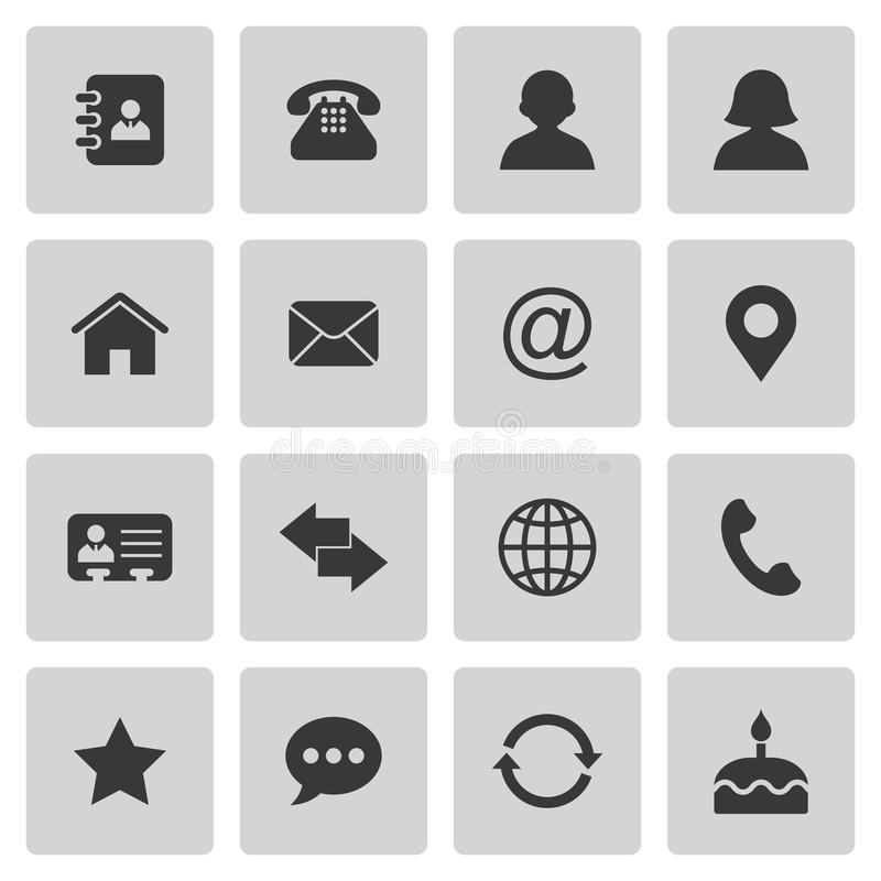 Contact icons set. On gray. Vector illustration