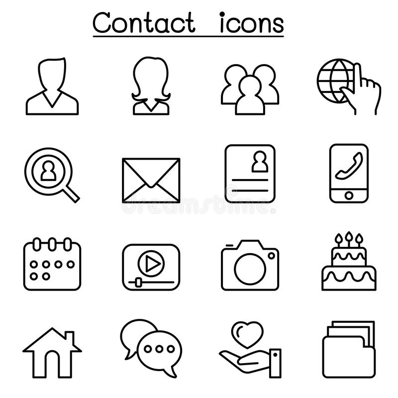 Contact icons set for social network in thin line style royalty free illustration