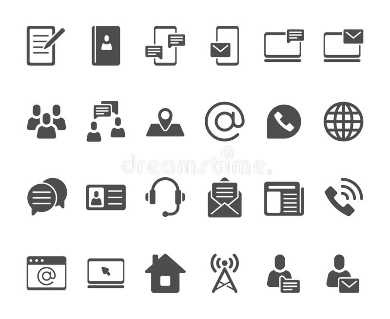 Contact icons. Telephone contacts silhouette, address book icon and email pictogram vector set stock illustration