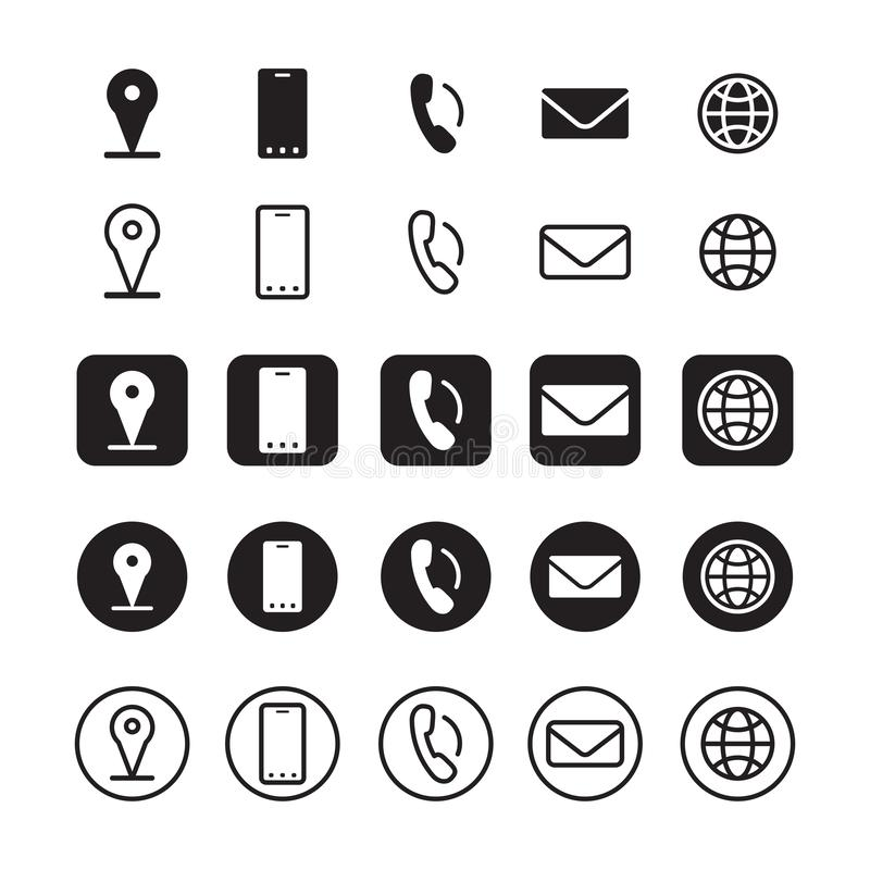 Contact information icons, vector royalty free illustration