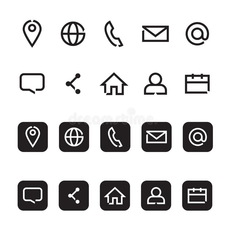 Contact information icons, vector vector illustration