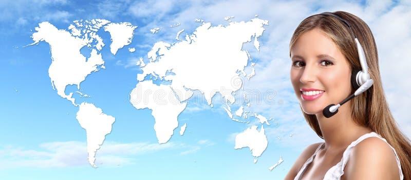Contact international d'opérateur de centre d'appels photos libres de droits