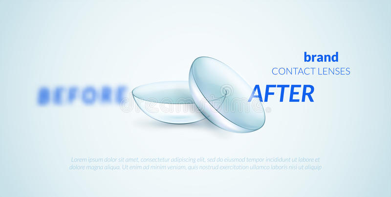 Contact lenses advertising template. Can be used as banner or package stock illustration