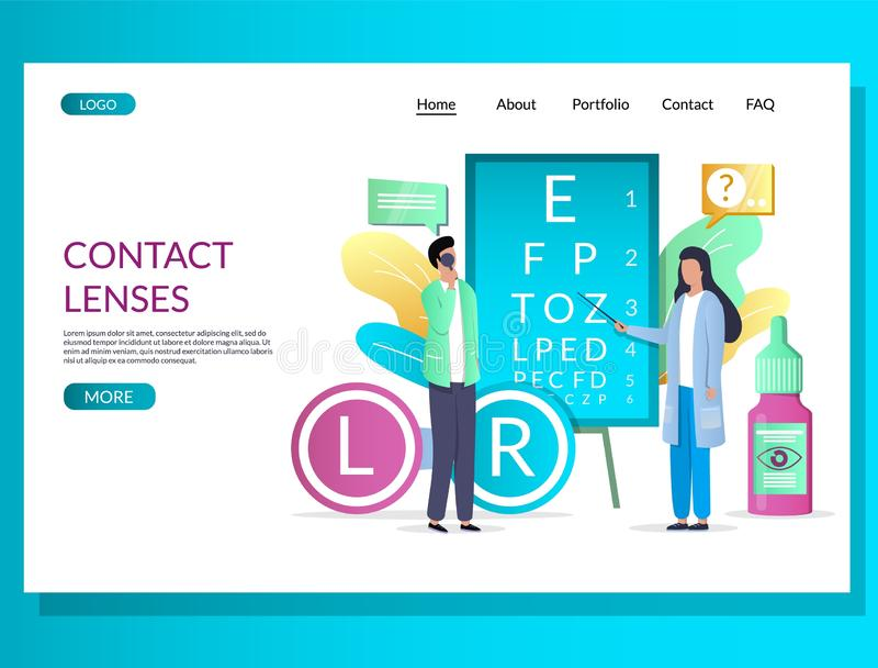 Contact lenses vector website landing page design template. Contact lenses vector website template, web page and landing page design for website and mobile site royalty free illustration