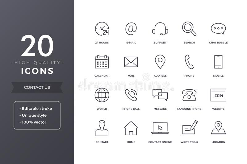Contact Line Icons royalty free illustration