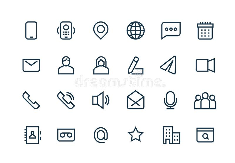 Contact line icons. Phone website mail, business personal information, url address, home office location. Web symbols stock illustration
