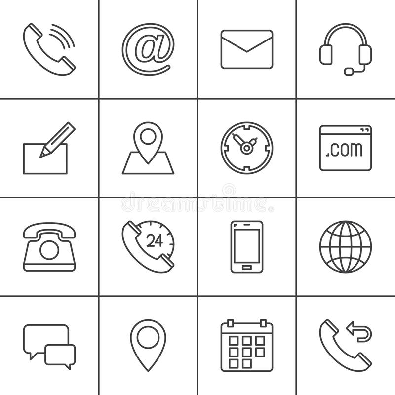 Contact line icons set, outline vector symbol collection, linear pictogram pack. Signs, logo illustration. Set includes icons as map, globe, phone, call, clock stock illustration