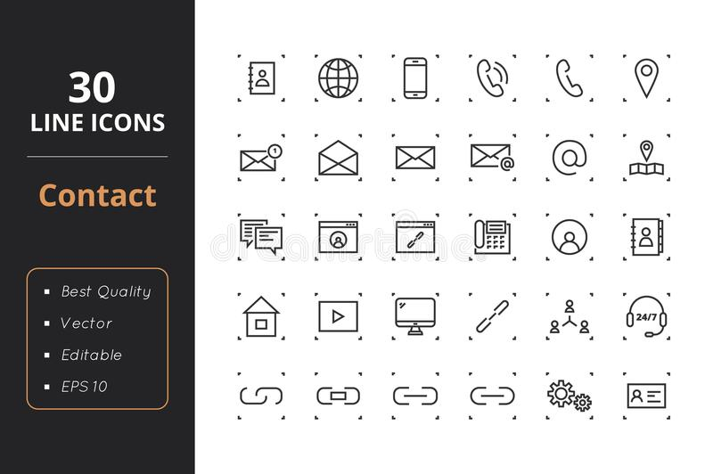 30 Contact Line Icons vector illustration