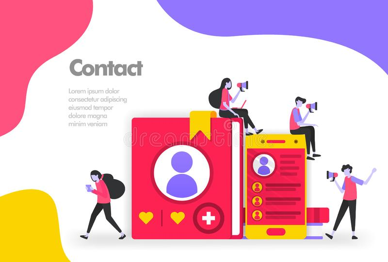 Contact list Illustration Concept, List of names and personal information. Modern flat design concept for Landing page website,. Mobile apps ui ux, flyer royalty free illustration