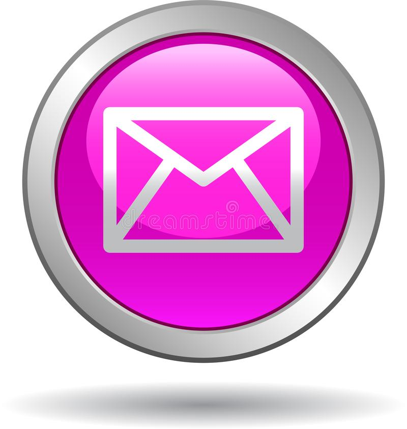 Contact mail icon web buttons pink. Vector illustration isolated on white background - contact mail icon web buttons pink vector illustration