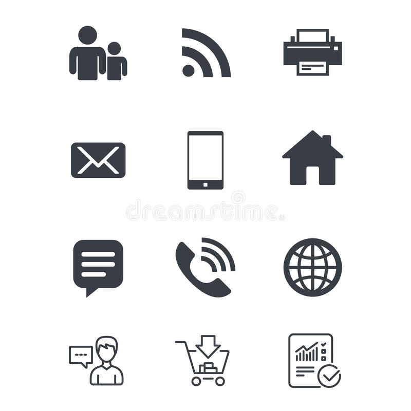 Contact Mail Icons Communication Signs Stock Vector