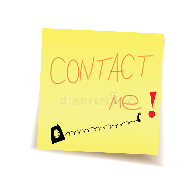 Download Contact me on post it stock illustration. Illustration of drawing - 46410724