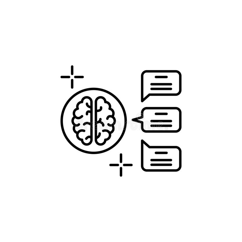 Contact messages brain icon. Element of brain concept royalty free illustration