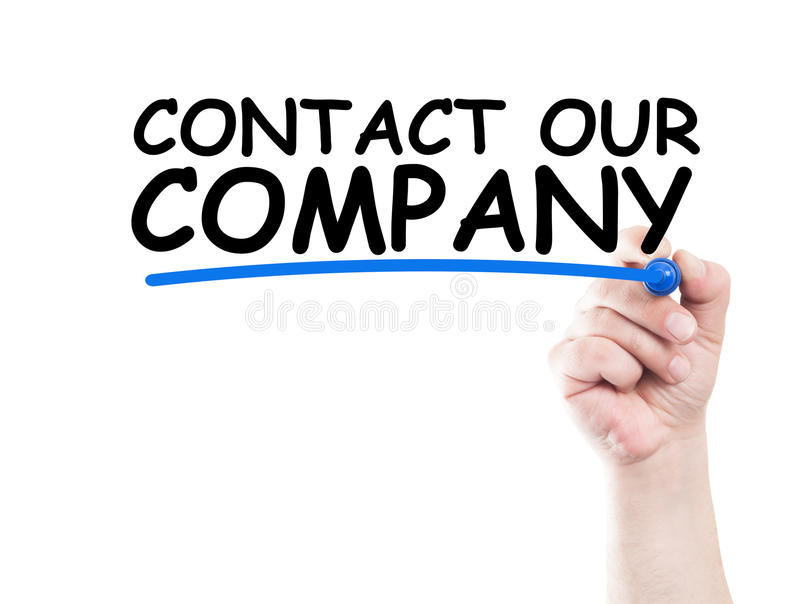 Contact our company. Concept made on transparent wipe board with a hand holding a marker royalty free stock image