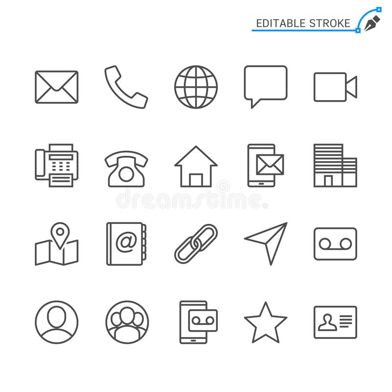 Contact outline icon set. Editable stroke. Pixel perfect. Easy to resize vector illustration