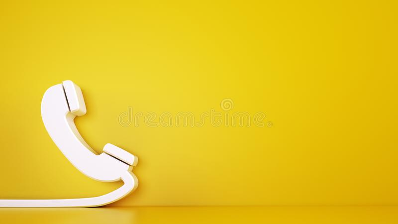 3D icon of a big telephone handset on yellow background. Rendering royalty free stock photo