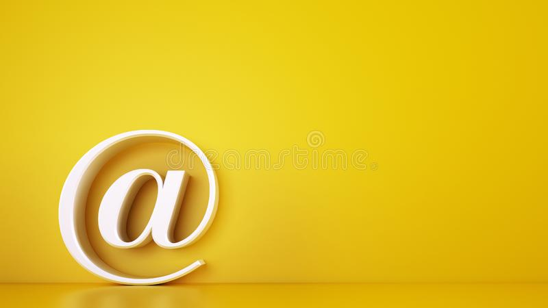 3D icon of a big at on yellow background. Rendering stock photo