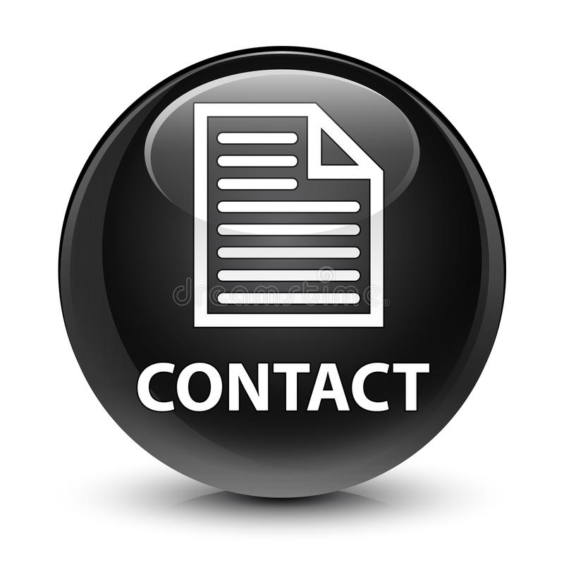 Contact (page icon) glassy black round button. Contact (page icon) isolated on glassy black round button abstract illustration royalty free illustration