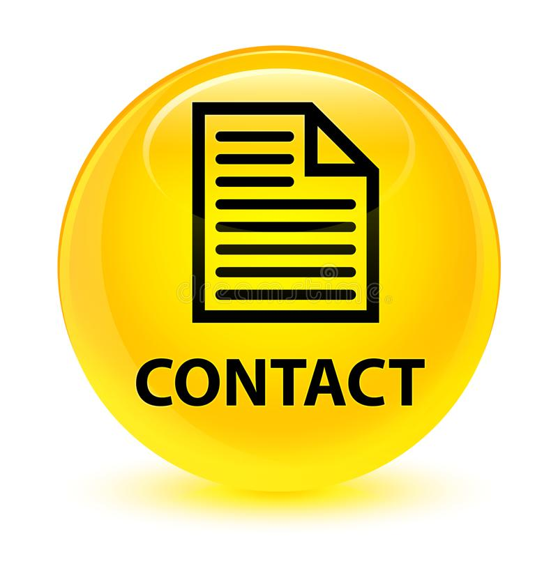 Contact (page icon) glassy yellow round button. Contact (page icon) isolated on glassy yellow round button abstract illustration stock illustration