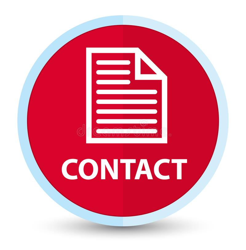 Contact (page icon) flat prime red round button. Contact (page icon) isolated on flat prime red round button abstract illustration stock illustration