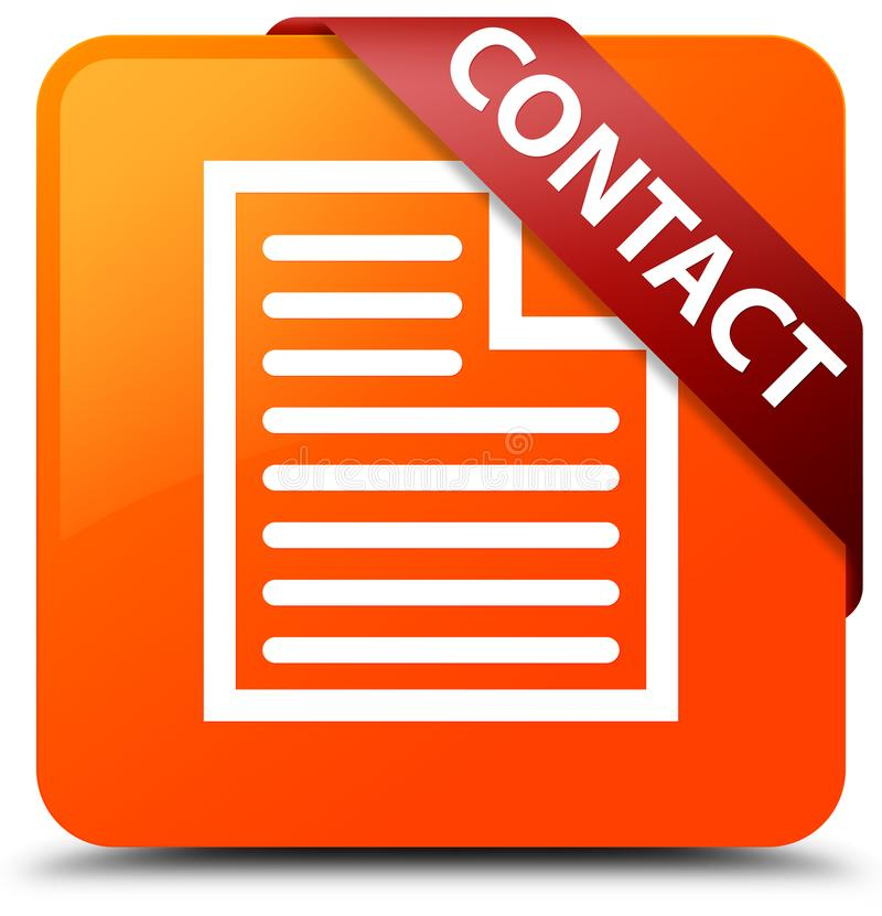Contact (page icon) orange square button red ribbon in corner. Contact (page icon) isolated on orange square button with red ribbon in corner abstract stock illustration