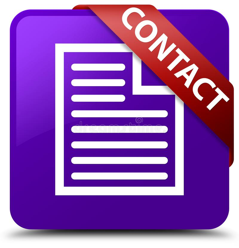 Contact (page icon) purple square button red ribbon in corner. Contact (page icon) isolated on purple square button with red ribbon in corner abstract stock illustration