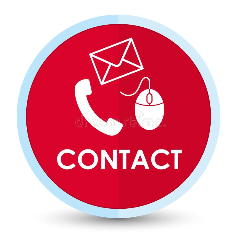 Contact (phone email and mouse icon) red flat prime round button stock illustration