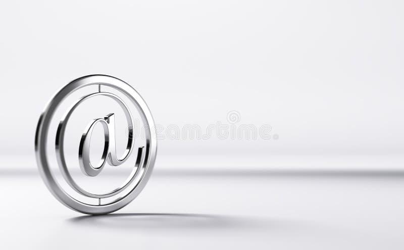 Contact, symbole de l'email 3D au-dessus de Grey Background illustration stock