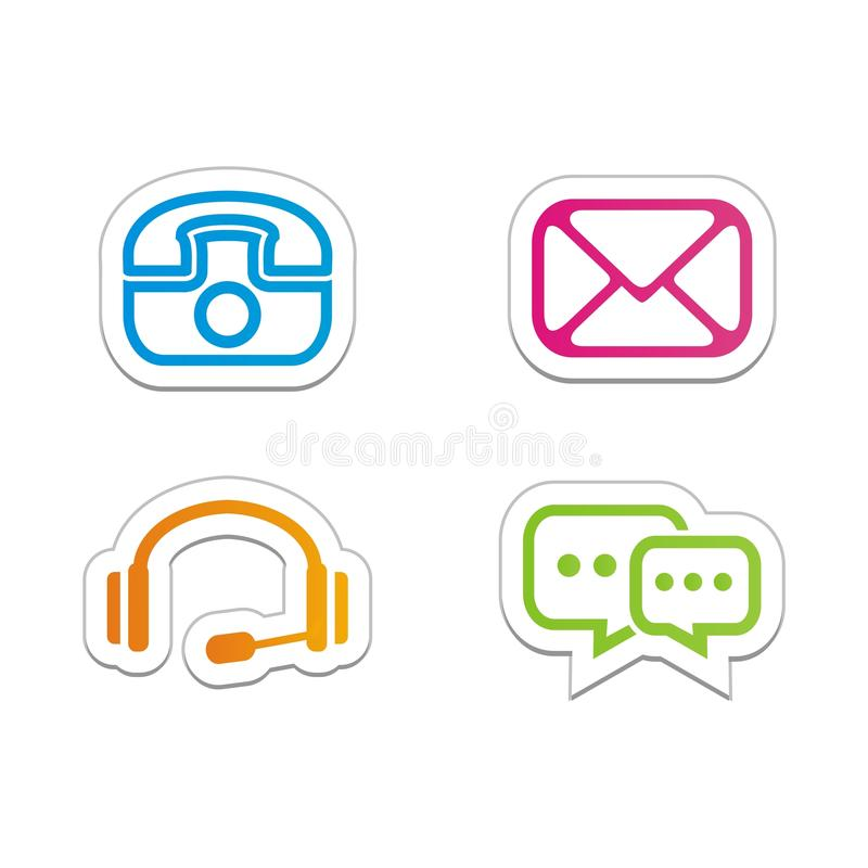 Download contact symbols stickers stock illustration illustration of message 33250454