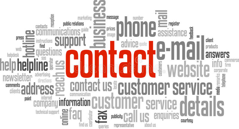 CONTACT Tag Cloud. (contact details customer information support call us royalty free illustration