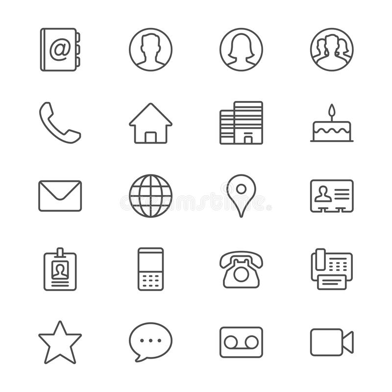 Contact thin icons. Simple, Clear and sharp. Easy to resize