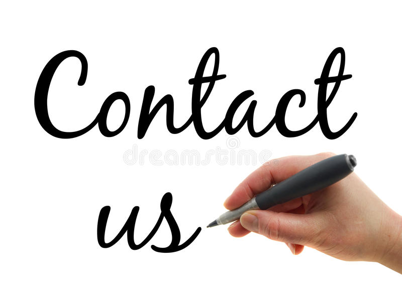 Contact us. Illustration of a hand with a pen writing Contact us note on white paper background