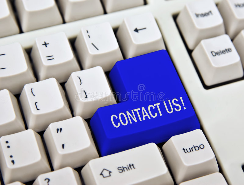 Contact us. Computer keyboard with enter key replaced with contact us