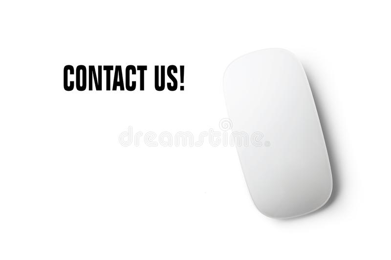 `Contact us` text with mouse and a white background stock images