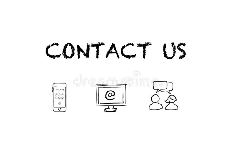 `Contact us` text and Icons with white background. vector illustration