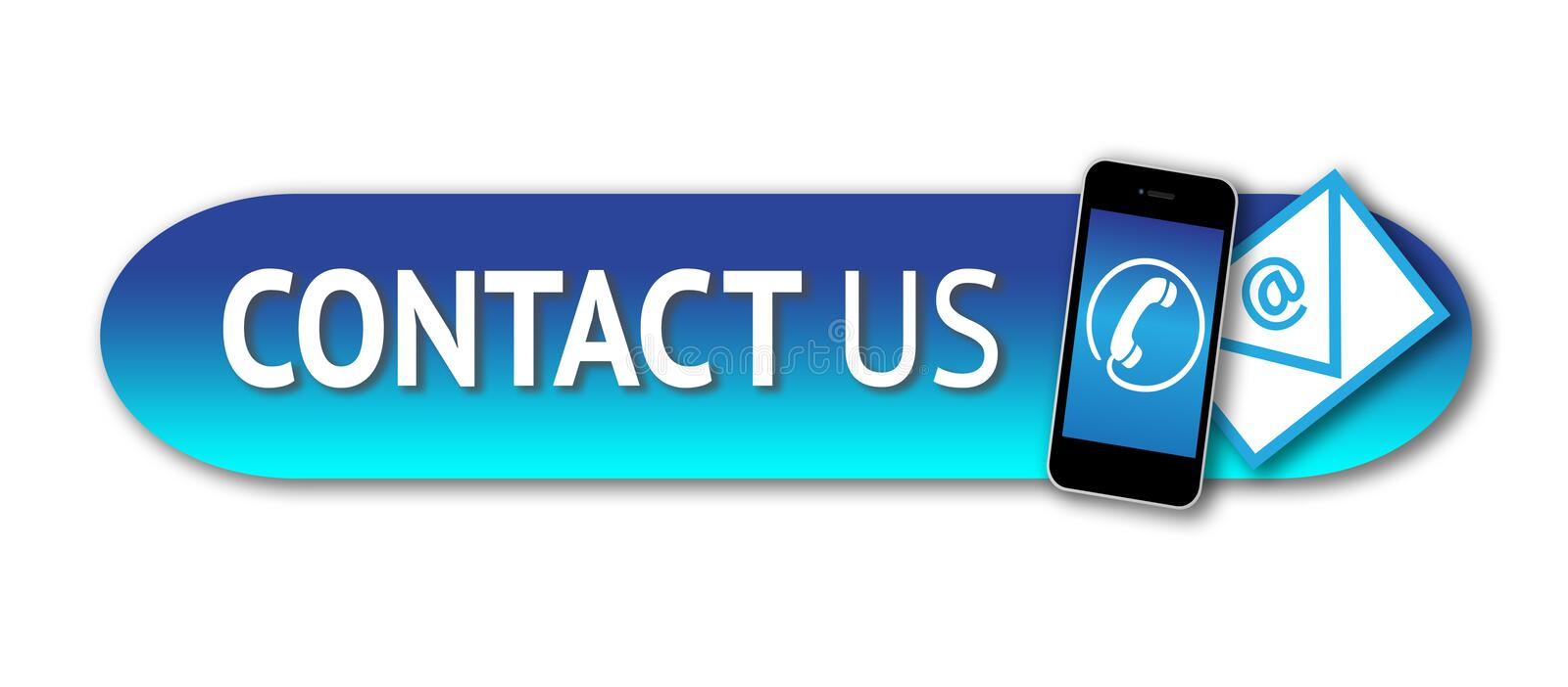 Contact us button. An image showing a contact us website button featuring the words Contact Us, an image of a mobile telephone with a phone icon and an envelope