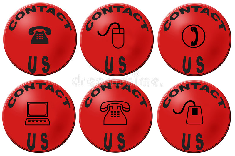 Contact us buttons. Red badges with contact us design royalty free illustration