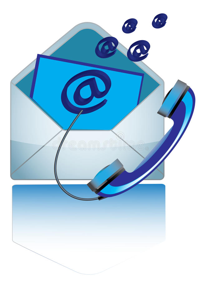 Contact Us. Concept design with email symbol , envelope & telephone royalty free illustration