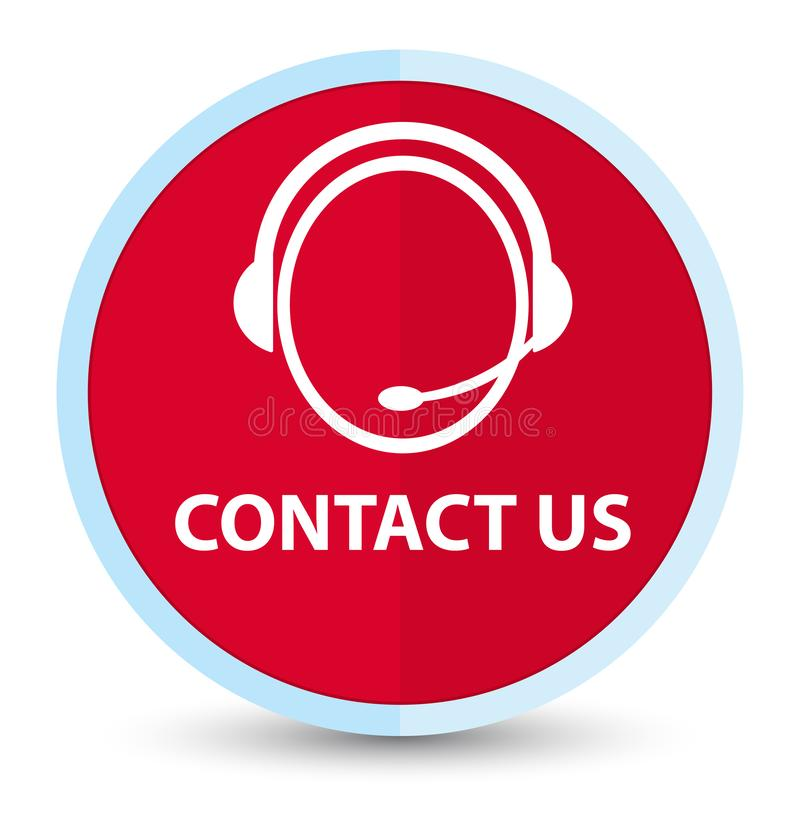 Contact us (customer care icon) flat prime red round button. Contact us (customer care icon) isolated on flat prime red round button abstract illustration vector illustration