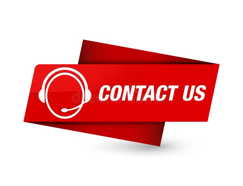 Contact us (customer care icon) premium red tag sign royalty free illustration