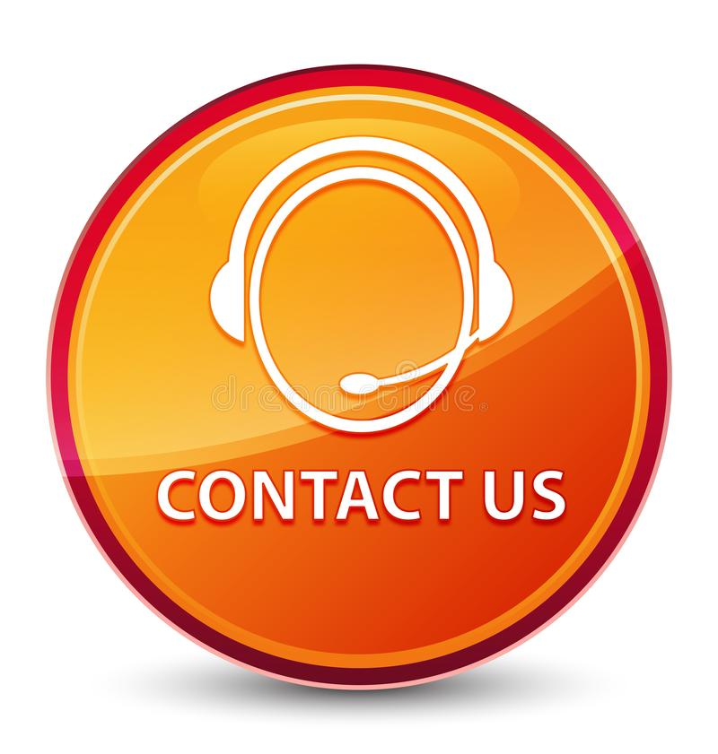 Contact us (customer care icon) special glassy orange round button. Contact us (customer care icon) isolated on special glassy orange round button abstract stock illustration