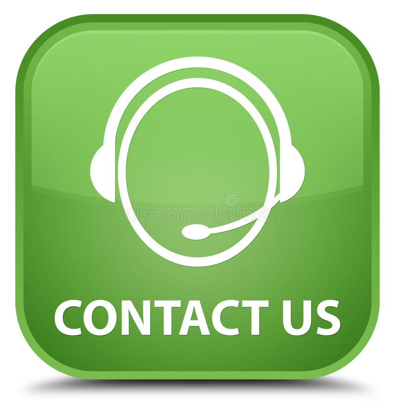 Contact us (customer care icon) special soft green square button stock illustration